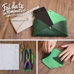 Come creare una pochette a busta fai da te.  Da fare in soli 10 minuti! #DIY #fastDIY #leather