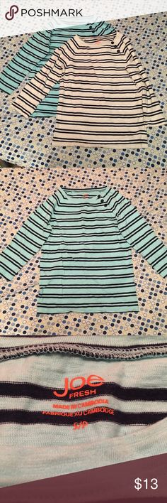 Bundle of 2 Stripped Shirts This is a bundle of 2 Stripped shirts both size small of the Joe Fresh brand. One is aqua and the other is white with dark stripes and button details. The both have gotten holes in one arm pit. The white one has been sewn back together just not super well. Other then that they have no flaws and are in great condition. Joe Fresh Tops Blouses