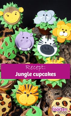 Deze jungle cupcakes zijn een feestje om te maken! Leer hoe je cupcakes maakt met als decoratie een leeuw, tijger, zebra, nijlpaard, giraffe, aap, olifant, panterprint of monstera blad.