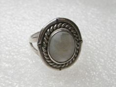 Vintage Sterling Silver Mother-of-Pearl Ring, Southwestern/Navajo, sz. 7.25,  #Unbranded
