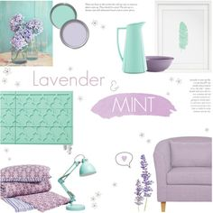 Lavender & Mint Green by c-silla on Polyvore featuring interior, interiors, interior design, home, home decor, interior decorating, ModShop, John Robshaw, Rosendahl and BonJour