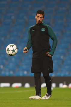 Luis Suarez of Barcelona in action during a training session ahead of the UEFA Champions League match between Manchester City and Barcelona at the City Football Academy  on October 31, 2016 in Manchester, England.