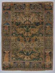 Carpet (Date: 17th century Geography: Iran Culture: Islamic Medium: Silk (warp, weft, and pile), metal wrapped thread; asymmetrically knotted pile, brocaded Dimensions: Rug: L. 91 1/2 in. (23.4 cm) W. 68 in. (172.7 cm) Tube: Diam. 6 1/2 in. (16.5 cm) W. 82 in. (208.3 cm) Classification: Textiles-Rugs Credit Line: Gift of C. Ruxton Love Jr., 1967)