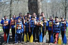 BSA Troop #529 gettin' their game faces on for a day of raftin at LSP on 04/18/15.  adventure-calls.com