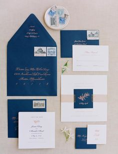 blue and cream wedding invitations http://trendybride.net/beautiful-wedding-stationery-part-ii/ Jose Villa Photography