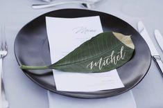 "48 Likes, 2 Comments - Nataline Putri (@natalineputri) on Instagram: ""Place cards on fresh leaves 🍃 Calligraphy • @hend.letter @natalineputri Decoration •…"""