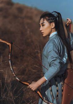 Beautiful warrior woman in hanfu.