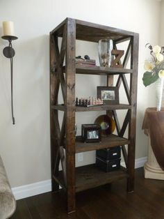 Rustic Bookcase Do It Yourself Home Projects from Ana White Pallet Furniture, Furniture Projects, Furniture Plans, Rustic Furniture, Home Furniture, Building Furniture, Ana White Furniture, Basement Furniture, Concrete Furniture
