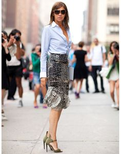 Carine in Balenciaga skirt