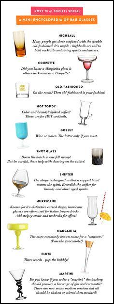 """a guide to bar glasses  www.LiquorList.com """"The Marketplace for Adults with Taste!"""" @LiquorListcom   #LiquorList.com"""