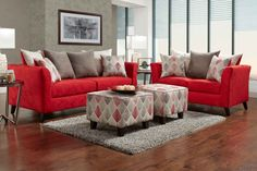 """Stix Red Sofa and Love Seat The seat cushions are covered in a beautiful polyester materials that is soft to the touch and looks beautiful.  The sofa and love seat are accented by the Stix Grey pillow pattern.   o Includes Sofa and Love Seat o Sofa Includes 4 Pillows & 2 Accent Pillows o Love Seat Includes 3 Pillows & 2 Accent Pillows o Flared Arms  o Loose Pillows For Adjustable Comfort o Multi-Colored Fabrics For Dynamic StyleDimensions: Sofa: 89""""L/37""""D/39""""H..."""