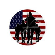 USA Flag Marching Soldiers Silhouette Wall Clock