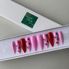 Pink and red cherry press on nails. Wood Sticks, Press On Nails, Nail File, Coffin Nails, You Nailed It, No Response, Cherry, Alcohol, How To Remove