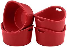 Rachael Ray Stoneware 4-Piece Bubble and Brown Ramekin Set, Red -- You can get more details at - Ramekins and Baking