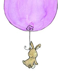 Bunny Balloon lavender 8x10 Nursery Art Print for Baby and Children. $17,00, via Etsy.