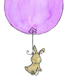 Bunny Balloon lavender 8x10 Nursery Art Print for Baby and Children. $17,00, via Etsy.