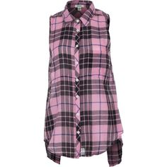 Dylan Outpost Plaid Slit Back Shirt - Sleeveless ($31) ❤ liked on Polyvore featuring tops, slit shirt, sleeveless tops, tartan top, plaid top and sleeve less shirts