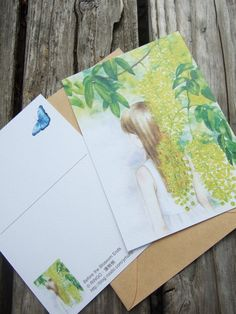 Before the blossom ends - Golden Shower Tree watercolor style postcard