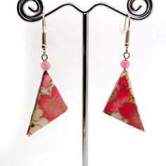 These earrings are handmade from 100% Washi origami paper direct from Japan. Washi is designated as one of UNESCO's intangible cutural heritage items. After the