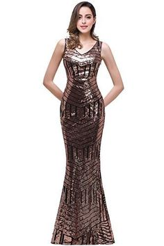 4c5bd3cfa online shopping for MisShow Women's V Neck Geometric Sequins Long Mermaid  Prom Evening Gowns from top store. See new offer for MisShow Women's V Neck  ...