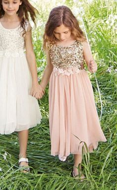 2015 Blush Flower Girls Dresses Gold Sequins Hand Made Flower Sash Tea Length Tulle Jewel A Line Kids Formal Dress Junior Bridesmaid Dress Girls Pageant Dresses, Girls Formal Dresses, Junior Bridesmaid Dresses, Wedding Dresses, Dress Formal, Formal Wear, Blush Flower Girl Dresses, Tulle Flower Girl, Little Girl Dresses