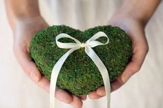 Outdoor or Spring Wedding idea. Wedding moss ring pillow Heart by VVDesignsShop on Etsy, $27.99