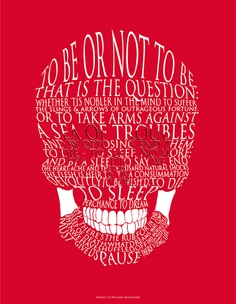 "Hamlet's famous ""To be or not to be"" speech, in skull form."