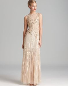 Basix Sleeveless Beaded Gown - Paillettes