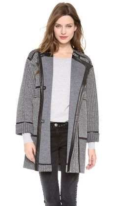 Rebecca Taylor Tweed & Leather Coat - this coat is everything for this season, I am in love.