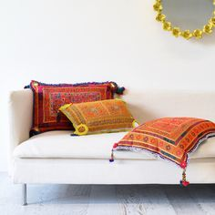 Sage and Clare: Pashtun Beaded Afghani Cushions Teen Bedroom, Bedroom Decor, Orange Cushions, Chain Stitch Embroidery, Rest And Relaxation, Vintage Textiles, Living Spaces, Living Rooms, Sweet Home