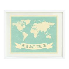 Oh, The Places You'll Go Quote Art Print 8x10-Chevron World Map-Grayed Jade-Cream-Kids Room-Baby Nursery-Playroom-Home Decor on Etsy, $16.00