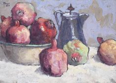 Conrad Theys (South African, born Still life with pomegranates and coffee pot Pomegranate Art, South African Artists, Impressionist Art, Still Life Art, Fashion Painting, Photoshop Brushes, Various Artists, Painting Inspiration, Paintings