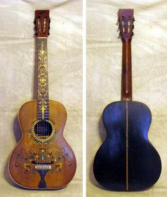 Fancy Stella Decalcomania Concert guitar, circa 1912 This very rare and ornate model has a spruce top, birch sides and back. Bound top with wood purfling. Fancy decal designs on both fretboard and. Guitar Shop, Cool Guitar, Custom Acoustic Guitars, Banjo, Ukulele, Bizarre, Musical Instruments, Musicals, Two By Two