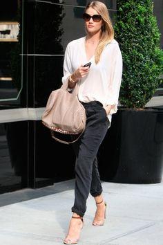 Silk trousers, flowy white top, nude heels, and sleek straight hair.