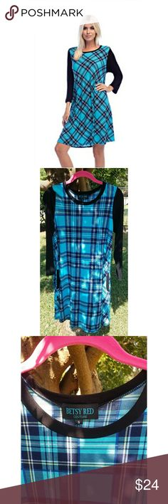 Small Plaid Dress Light Blue and Black This is a pretty blue and black plaid dress in a size small. Perfect for fall!  92% polyester, 8% spandex.   I purchased this for boutique, so it will not have price tags attached. Dresses