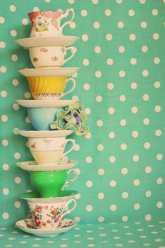 Balancing Act: Colorful 11x14 Teacup Fine Art by SqueekyChic