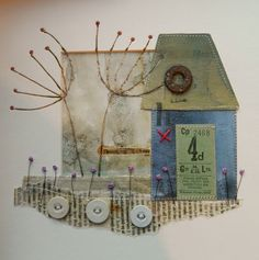 'Dreaming' by Louise O'Hara of DrawntoStitch www. Mixed Media Collage, Collage Art, Collage Illustration, Collages, Printable Images, Stitching On Paper, Fiber Art Quilts, Textile Sculpture, Creative Textiles