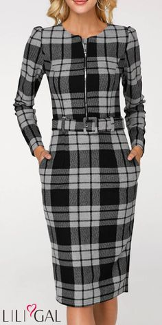 Long Sleeve Plaid Print Belted Sheath Dress - Outfits for Work - Business Outfits for Work Simple Dresses, Pretty Dresses, Dresses For Work, Dresses With Sleeves, Dress Work, New Dress, Belted Dress, Dress Skirt, Sheath Dress
