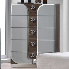 Keep your room organized and show off your love of modern style with the gorgeous Chintaly London 5 Drawer Chest . Made from two-tone MDF and particle. 5 Drawer Chest, Drawer Handles, Chest Of Drawers, Bedroom Furniture Design, Bed Furniture, Modern Furniture, Furniture Layout, Furniture Outlet, Contemporary Bedroom Sets
