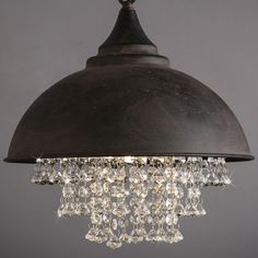 Glittering Crystal Beads Hanging Aged Rust Wrought Iron Shaded Industrial Pendant Light