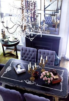 love this dining area dark and glamourous at the same time