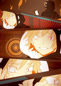 anime heterochromia / odd eyes yellow red (Kano Shuuya kagerou project)
