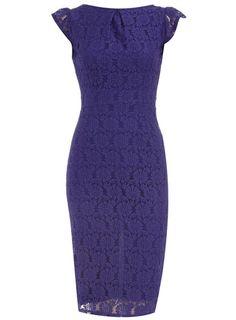 Purple lace pencil dress for bridesmaids