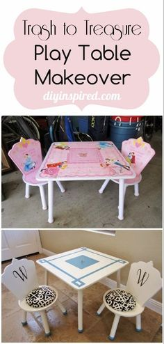 Trash to Treasure Play Table Makeover Childrens Play Table, Refurbished Table, Shops, Trash To Treasure, Kid Table, Kids Furniture, Upcycled Furniture, Painting Furniture, Diy Bedroom Decor