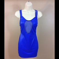 Royal Blue Party Dress  sz. Medium This royal blue dress has a mesh insert . It was worn a few times. The tag is missing it is  in the size of medium... No Trades Dresses