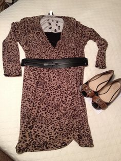 9c9cc75a8fe Leopard dress Torrid ( 5 garage sale) Belt  JC Penney Shoes  Target