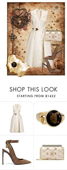 """The Note"" by ahapplet ❤ liked on Polyvore featuring Giles, Poiray Paris, Tom Ford, Oscar de la Renta, dress, Elegant, beige and ahapplet"