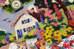Vintage Home - Adorable Thatched Cottage and Garden Handmade Rug: www.vintage-home.co.uk