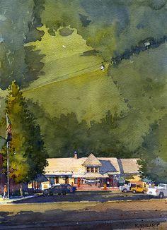 """Ah Haa Depot by Richard Sneary Watercolor ~ 14"""" x 10"""""""