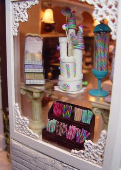 The corner detail dolls house shop, candy display, miniature rooms, mini th Wooden Wand, Dolls House Shop, Candy Display, Ice Cream Candy, Miniature Rooms, Shop Front Design, Mini Things, Candy Store, Miniture Things